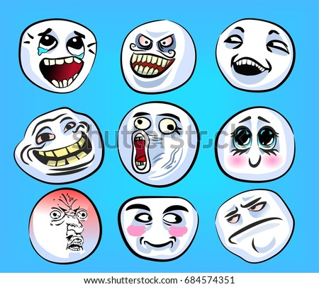 Set Of Emotional Stickers With Internet Memes For Everyday Expressions In Social Media Chat