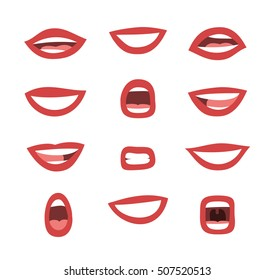 Set of emotional women's lips. Cartoon style illustration femme fatale mouth. Isolated Hand drawn vector facial expression. Red lipstick