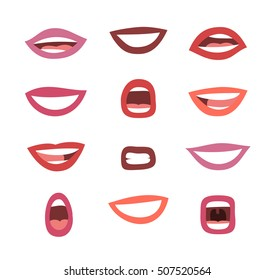 Set of emotional women's lips. Cartoon style illustration mouth. Isolated Hand drawn vector facial expression. Different lipstick
