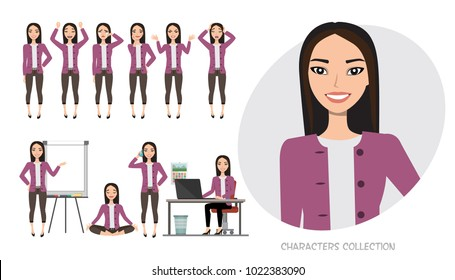 Set of emotions for asian business woman.
