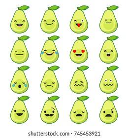 Set Emotions Avocado. Cute cartoon. Vector style smile icons.