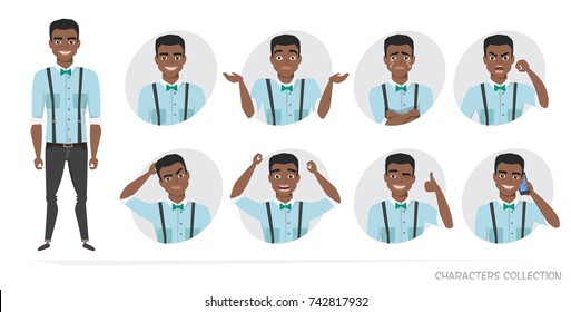 Set of emotions for black african american business man.
