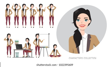 Set of emotions for business woman.