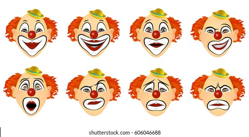 The set of emotions the clown. Vector illustration. Eight different emotions of the clown: fear, smile, smile, laughter, surprise, sadness, anger, disgust.