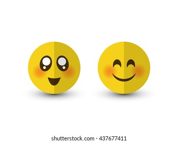 Set of emotions. Eyes smiley icon isolated on a white background