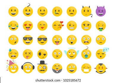 Set of emotions, faces with different facial expressions. Icon collection emoji. Modern cartoon vector illustration in a flat style isolated on white background for labels, web, mobile app.