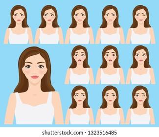 Set of emotions feeling woman vector illustration