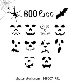 """Set of emotions for a happy halloween, faces for pumpkins, the inscription """"boo"""", a spider and a bat for design."""