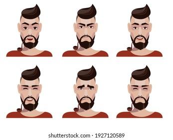 Set of emotions of a hipster man. Vector illustration.