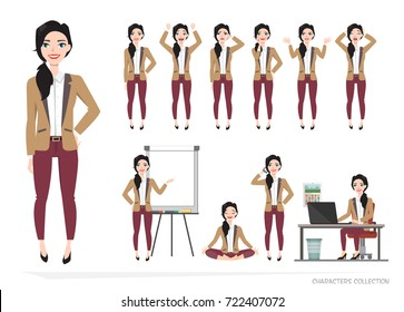 Set of emotions and poses for business woman.Young girl in a cartoon style experiences different emotions and poses.