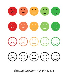 set emotions rating different colors in flat style