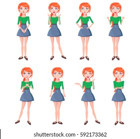 Set of emotions of red-haired girl full-length with blue eyes on white background. Woman dressed in green blouse and blue skirt. Vector illustration of woman expression flat design cartoon style.