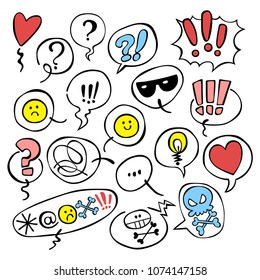 Set. Emotions. Smilies. Question mark. Exclamation point. Dialog cloud. Isolated vector objects on white background.