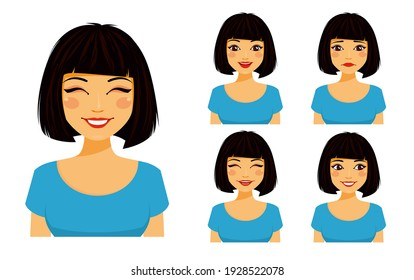 Set of emotions. Young cute girl shows different emotions. Sad, surprised, happy, laughing. Flat style on white background. Cartoon