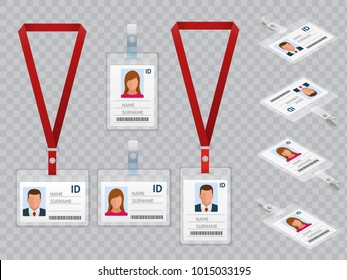 Set of Employees Identification White Blank Plastic Id Cards with Clasp and Lanyards Isolated Vector Illustration