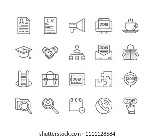 Set of Employment outline icons isolated on white background. Editable Stroke. 64x64 Pixel Perfect.