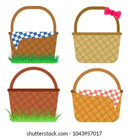 Set of empty baskets for Easter eggs. Vector illustration