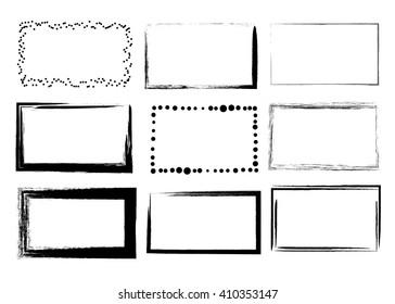 Set of empty black grunge frames isolated on white background
