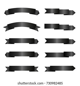 Set of empty black ribbons with place for text. Blank dark vector banners. Design elements for Halloween. Isolated on white background.