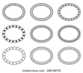 Set of empty blank vintage ornate frames, design elements, black isolated on white background, vector illustration.