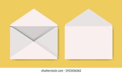 Set of empty blank white paper envelope. Template. - Shutterstock ID 1923336362