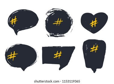 Set of empty bubble banners with hashtags. trendy design for young slang words. Vector illustration