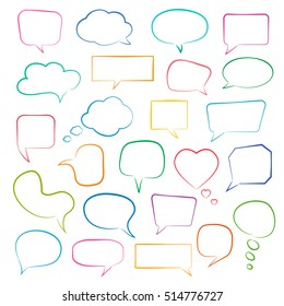 Set of empty color speech bubbles for infographics. Vector talk and thought sketch bubbles.