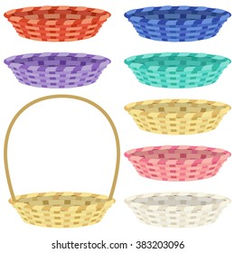 Set of empty colorful baskets isolated on white