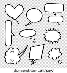 Set of empty comic bubbles and elements on transparent background. Vector illustration in pop art style.
