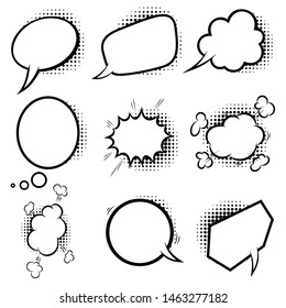 Set of empty comic style speech bubbles with halftone shadows. Design element for poster, emblem, sign, banner, flyer. Vector illustration