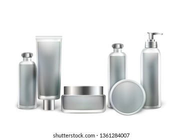 Set of Empty Cosmetic Glass and Plastic Bottles for Beauty Products Isolated on White Background. Package Container Collection for Cream, Foam, Shampoo, Oil, Balm. 3D Vector Realistic Illustration