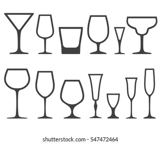 Set of empty different shapes wine glasses icons isolated on white background.