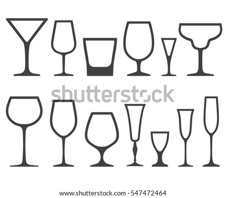 8b7fea93b5b Set of empty different shapes wine glasses icons isolated on white  background.