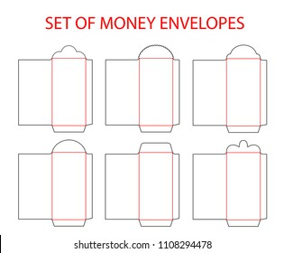 Set of empty envelopes die cut for Chinese New Year red envelope money. Vector illustration. Template for red packet (Ang Pau) die-cut line.  Mock up for design Chinese New Year Money Red Packet.
