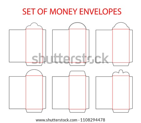 set empty envelopes die cut chinese stock vector royalty free