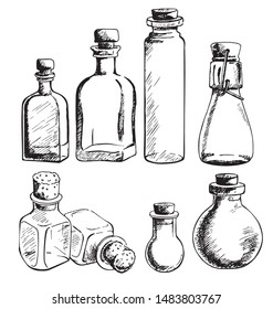 Set of empty glass jars and bottles of various shapes. Hand-drawn vector illustration.