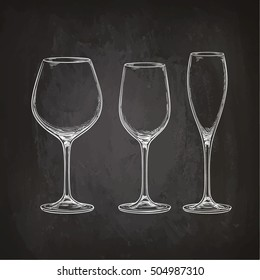 Set of empty glasses. Sketch with chalk on blackboard background. Hand drawn vector illustration. Retro style.