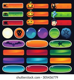 A set of empty Halloween buttons for web and games - add your text on top of the buttons. Examples of button use: buy now, contact, play, join now, etc.