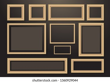 Set of empty hanging decorative photo frames with shadow effects. Different sizes. Dark background. Design template for layout. Vector illustration
