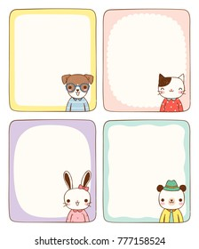 Set of empty message board, cards, paper note, copy space for text. Cute animals including dog, cat, rabbit and bear with frames on pastel color style. Flat design. Colored vector illustration.