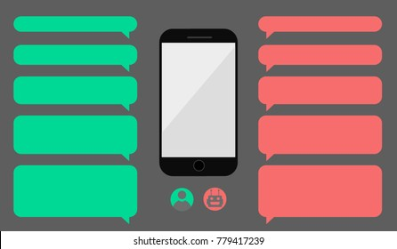 Set of empty messaging bubbles. Man chatting with chat bot robot on cellphone. Smartphone with dialog boxes. Avatar icon design.