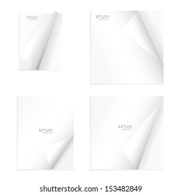 Set of empty notebook paper with curled corners - Vector illustration