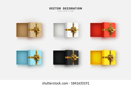 Set of empty open gift box with lush gold bow. Collection of realistic gifts presents flat lay top view. Festive colorful decorative 3d render object. Isolated on white background. vector illustration
