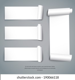 Set of empty paper sheets with curved sides. Vector illustration