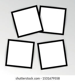 set of empty photo frame with black border and white rectangle element. instant photo frame card mockup template decoration for design