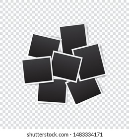 set of empty photo frame with white border and black rectangle element on transparent background. template or mockup decoration for design