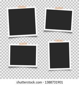 Set of empty photo frames with adhesive tape