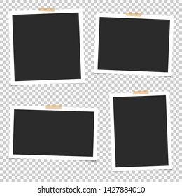 Set of empty photo frames with adhesive tape. Blank for photos. Vector. EPS 10