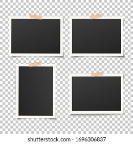Set of empty photo frames with adhesive tape. Vector vintage picture with adhesive tapes. Photo realistic vector EPS10 mockups. Retro photo frame templates. 4 photos on wall.