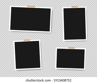 Set of empty photo frames with adhesive tape isolated on transparent background. Vector illustration EPS 10
